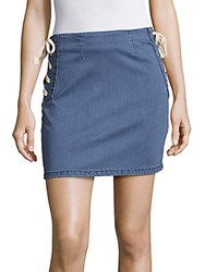 Minkpink Route Lace Up Denim Skirt Blue