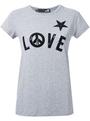Love Moschino Sequin Embellished T Shirt Grey