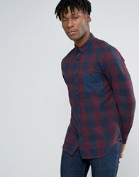 Pull And Bear Pullandbear Checked Shirt In Burgundy In Regular Fit Burgundy Red