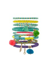 Forever 21 Pom Pom Beaded Bracelet Set Gold Multi