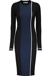 La Ligne Streamline Color Block Rib Knit Dress Midnight Blue