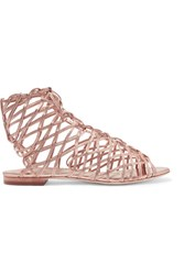 Sophia Webster Delphine Metallic Leather Sandals Pink