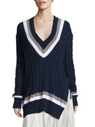 Public School Cora Cable Knit Sweater Navy