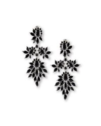 Fallon Crystal Cluster Marquis Statement Earrings Jet