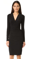 Norma Kamali V Neck Long Sleeve Shirred Waist Dress Black