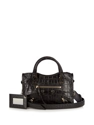 Balenciaga Classic City Mini Crocodile Effect Leather Bag Black