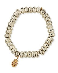 Sydney Evan Faceted Pyrite Beaded Bracelet With Ladybug Charm Silver