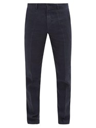 120 Lino Linen Straight Leg Trousers Navy