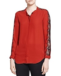 The Kooples Lace Inset Shirt Red