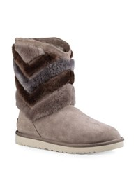 Ugg Tania Chevron Sheepskin Fur Boots Grey