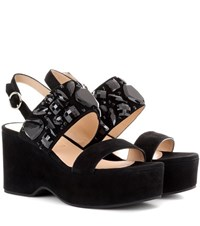 Marc Jacobs Lily Embellished Suede Sandals Black