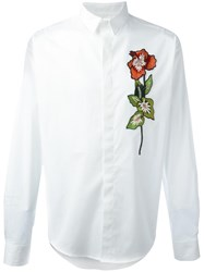 Christian Pellizzari Embroidered Flower Shirt White