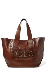 Polo Ralph Lauren Leather Market Tote Brown Cuoio