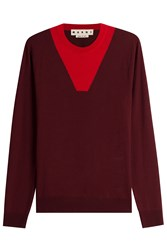 Marni Colorblock Wool Pullover Red