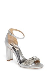 Badgley Mischka Women's Ankle Strap Sandal Silver Leather