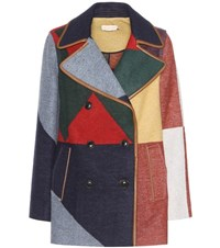 Tory Burch Cheval Wool Blend Peacoat Multicoloured