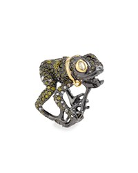 Crystal Encrusted Frog Ring Antique Silver Alexis Bittar