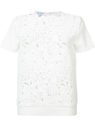 Oscar De La Renta Short Sleeve Birdsnest Front Embroidered Top Women Cotton M White