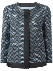 Armani Collezioni Chevron Evening Jacket Blue