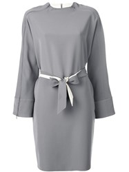 Emporio Armani Belted Zipped Dress Grey