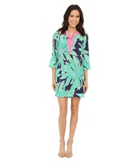 Lilly Pulitzer Rylee Shift Dress Bright Navy Tiger Palm Women's Dress Green