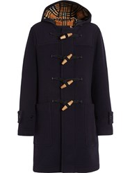 Burberry Vintage Check Detail Wool Blend Hooded Duffle Coat Blue