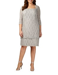 Alex Evenings Plus Sequined Squareneck Lace Shift Dress Platinum