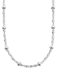 Giani Bernini Sterling Silver Necklace 24' Small Beaded Singapore Chain