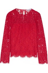 Diane Von Furstenberg Yeva Corded Lace Top Red