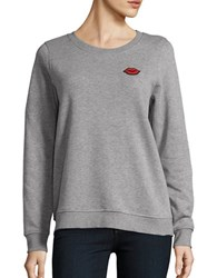 Vero Moda Long Sleeve Crewneck Patch Accented Sweatshirt Light Grey