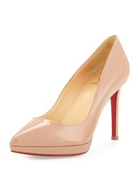 Christian Louboutin Pigalle Plato Patent Red Sole Pump Beige