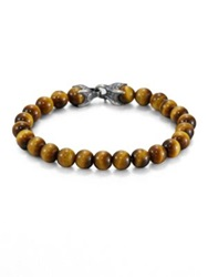 David Yurman Spiritual Bead Tiger's Eye Bracelet Brown Gold