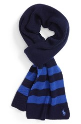 Polo Ralph Lauren Men's Stripe Wool And Cashmere Scarf French Navy Maidstone Blue
