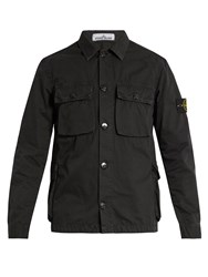 Stone Island Button Down Brushed Cotton Cargo Jacket Black
