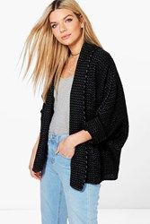 Boohoo Chunky Shawl Collar Cardigan Black