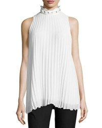 Max Studio Sleeveless Pleated High Neck Blouse Ivory