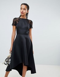 Chi Chi London High Low Hem Midi Dress With Lace Sleeves Black