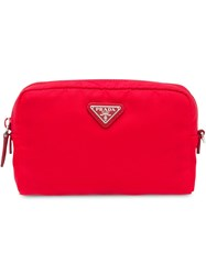Prada Fabric Cosmetic Pouch Red