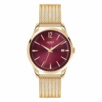 Henry London Ladies 39Mm Holborn Stainless Steel Bracelet Watch Gold Red