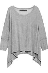 Enza Costa Draped Modal Blend Jersey Top Gray