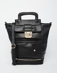 Glamorous Tote Bag With Front Lock Detail And Cross Body Strap Black