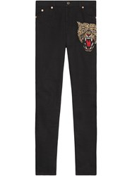 Gucci Angry Cat Embroidered Denim Pant Women Cotton Spandex Elastane 29 Black