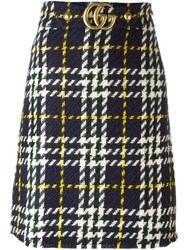 Gucci Houndstooth Knit Skirt Blue