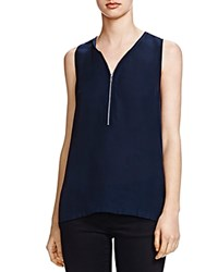 The Kooples Half Zip Silk Tank Navy