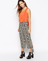 Kiss The Sky Hareem Trouser In Aztec Print With Tie Details Multi