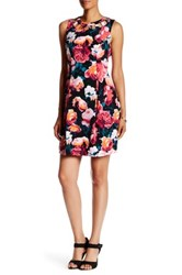 Eliza J Sleeveless Cutout Floral Fit And Flare Dress Pink