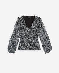 The Kooples Leopard Patterned Wrap Top With Pleats