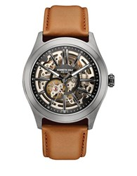 Kenneth Cole Gunmetal Tone Stainless Steel And Leather Skeleton Strap Watch 10030817 Luggage