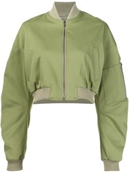 Rosie Assoulin Cropped Bomber Jacket Green