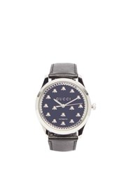 Gucci G Timeless Stainless Steel And Leather Watch Black Silver